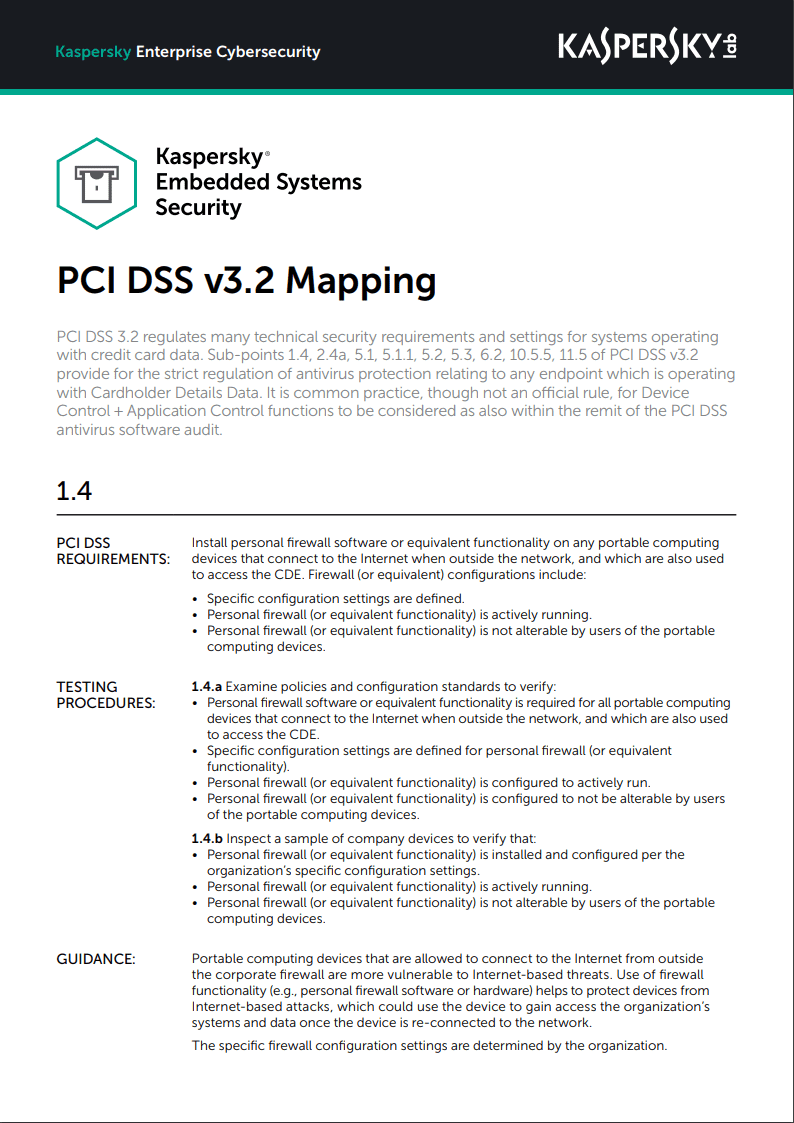 Kaspersky Embedded Systems Security – PCI DSS v3.2 Mapping