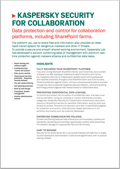 KASPERSKY SECURITY FOR COLLABORATION – DATABLAD
